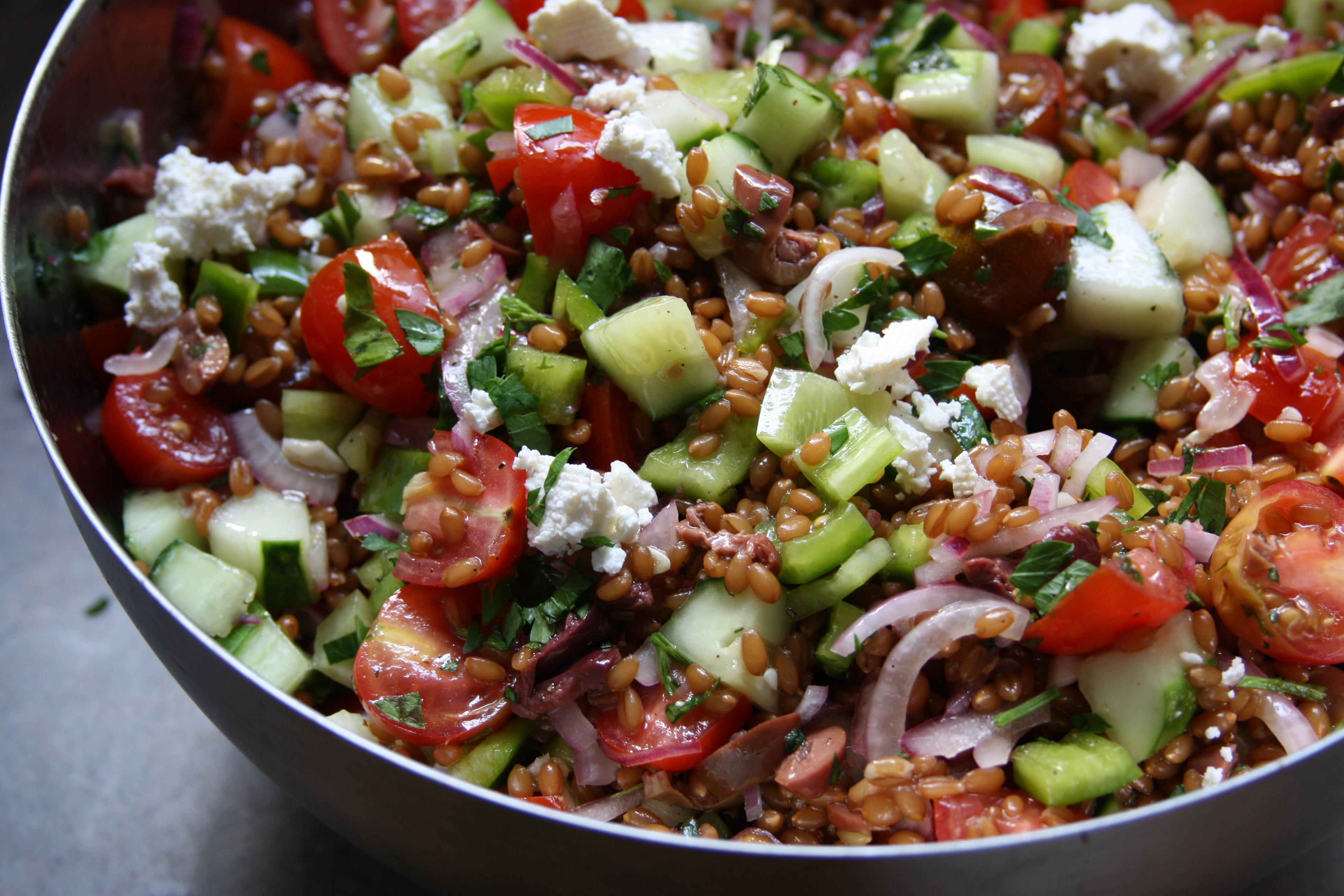 Greek Wheat Berry Salad Recipe — Dishmaps